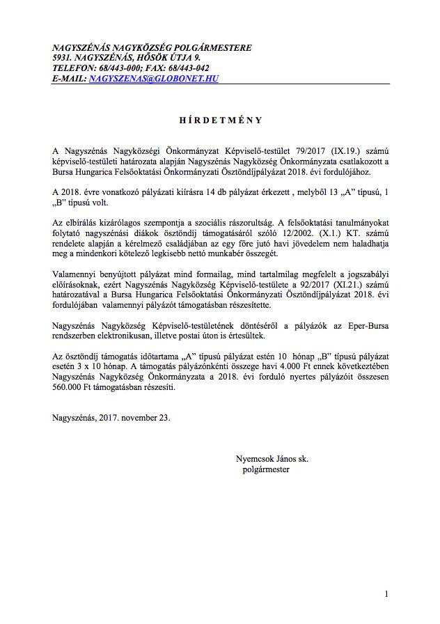 Hirdetmény a Bursa Hungarica pályázattal kapcsolatban
