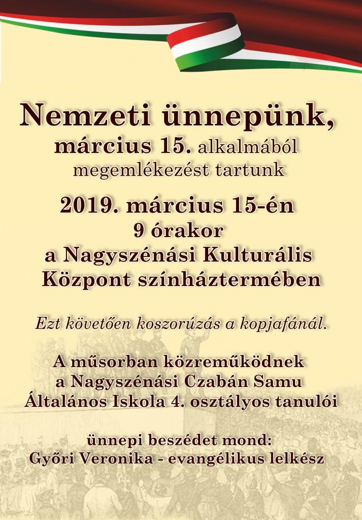 Községi ünnepség – 2019. március 15.