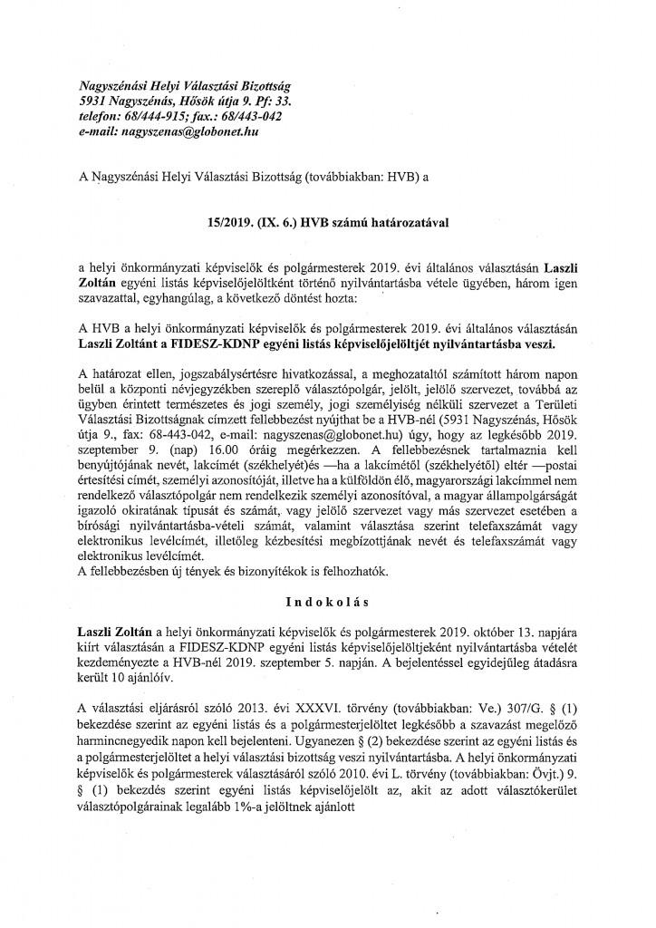 HVB határozatok 09.06.-1