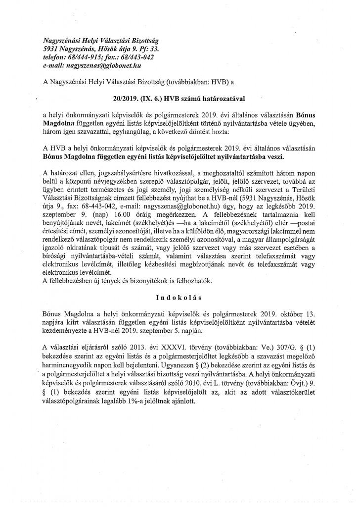 HVB határozatok 09.06.-11