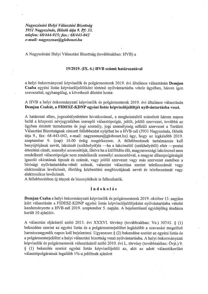 HVB határozatok 09.06.-9
