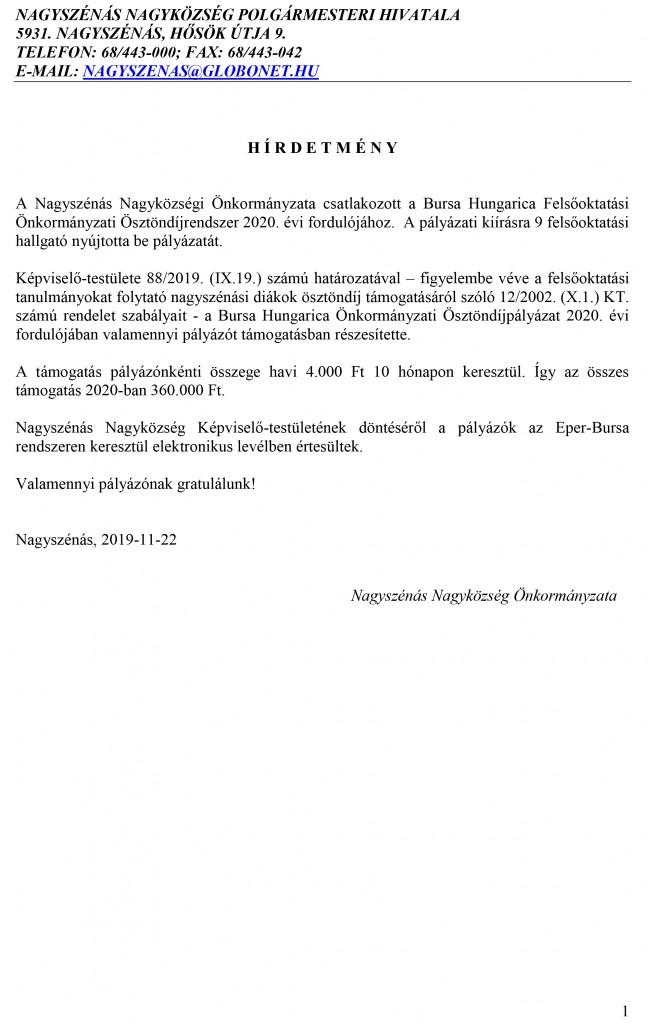 Bursa Hungarica – hirdetmény