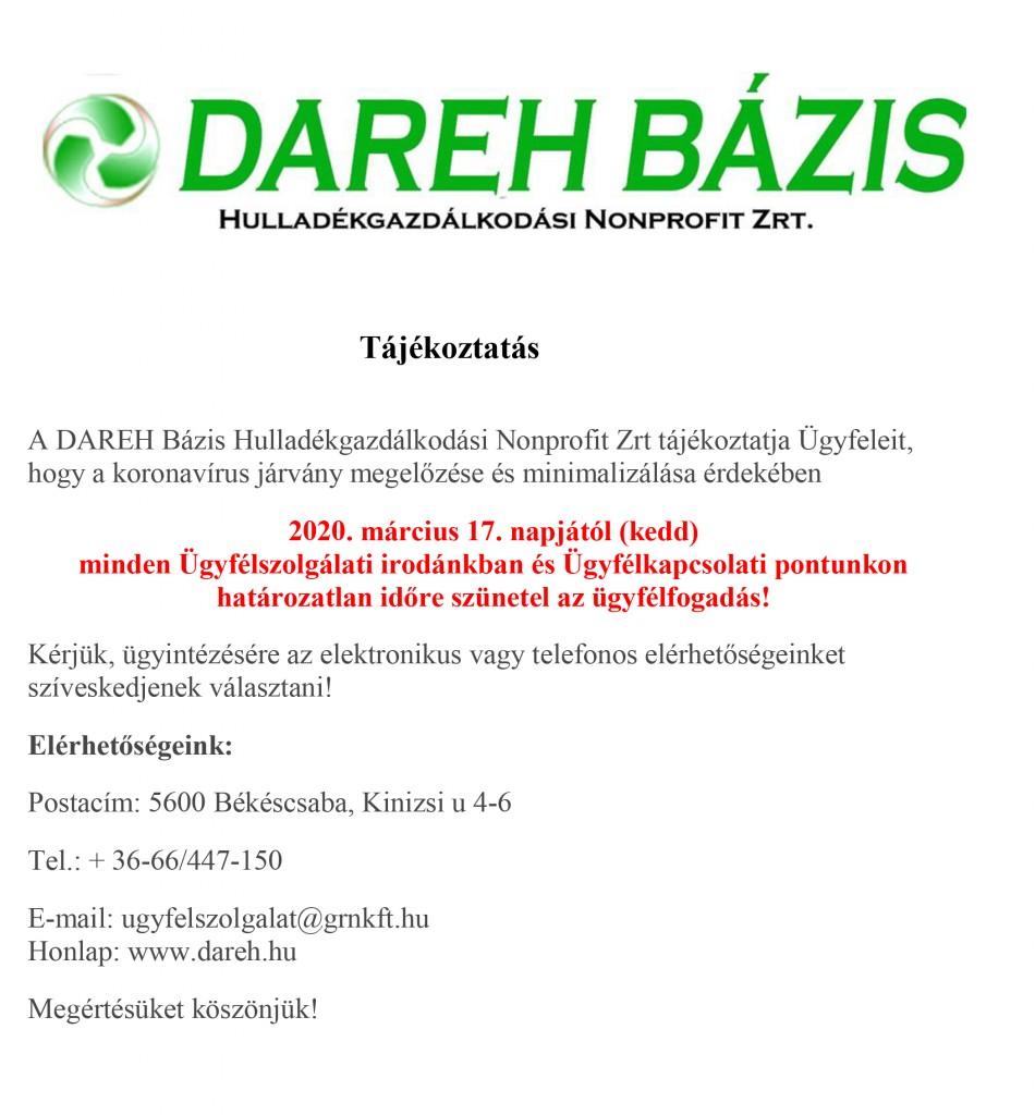 DAREH – ügyfélfogadás változása