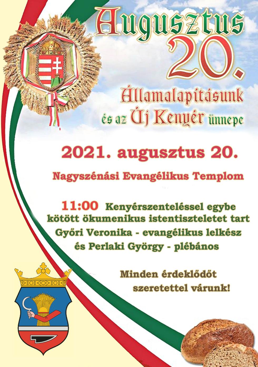 Nemzeti ünnep – 2021. augusztus 20.